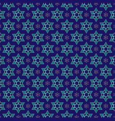 Gold blue star of david pattern vector
