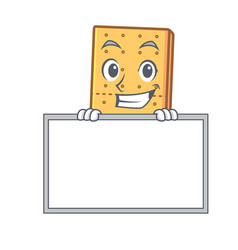 Grinning with board graham cookies character vector