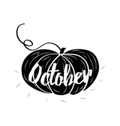 hand-sketched typographic element with pumpkins vector image