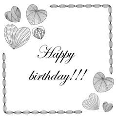 happy birthday card in zenart style hearts on vector image