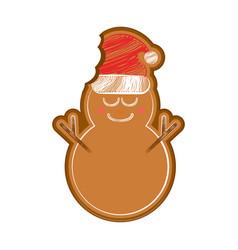 Happy bitten snowman gingerbread vector