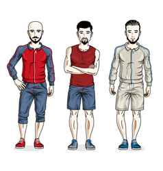Happy men group standing wearing stylish sport vector