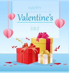 happy valentine s day postcard with hearts vector image