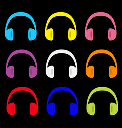 headphones earphones icon set colorful silhouette vector image