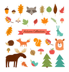 Hello autumn fall season collection of forest vector