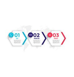 Hexagonal style three steps business infographic vector