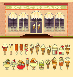 ice cream shop and set of cute various desserts vector image