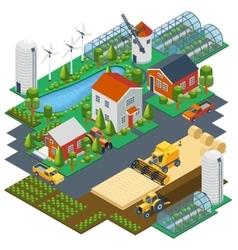 isometric farm scene village setting vector image