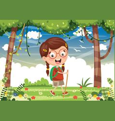 kid trekking vector image