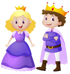 king and queen in purple costume vector image