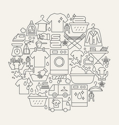 Laundry line icons circle vector