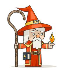 mage sorcerer warlock wiseman staff spellbook vector image