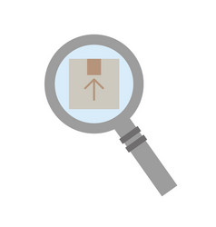 magnifying glass with box carton delivery icon vector image