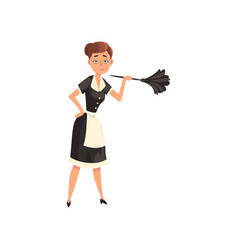 Maid holding a feather duster housemaid character vector