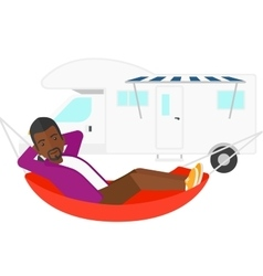 Man lying in hammock vector image
