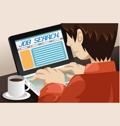Man searching for a job online vector