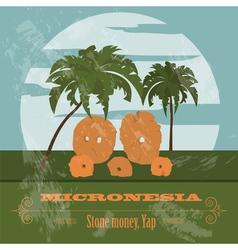 Micronesia Stone money Yap Retro styled image vector image