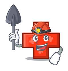 miner cross mascot cartoon style vector image