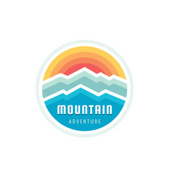 Mountain adventure outdoors - concept logo vector