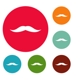 Neat mustache icons circle set vector