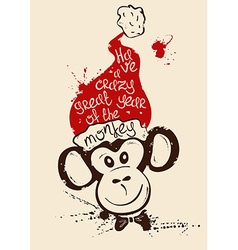 New Year With Isolated Face Of Monkey vector