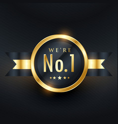 no 1 leadership business golden label design vector image