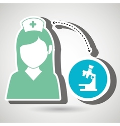 Nurse and microscope isolated icon design vector