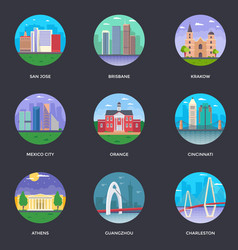 Pack of world cities 12 vector