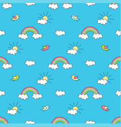 Pattern with rainbows sun clouds and birds vector