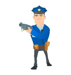 Policeman with gun icon cartoon style vector image
