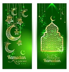 Ramadan Kareem celebration greeting card decorated vector image vector image