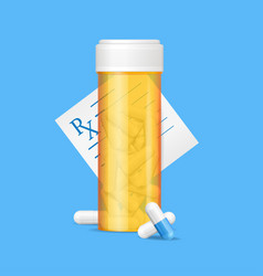 realistic detailed 3d pills bottle and vector image