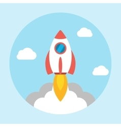 Rocket launch icon flat vector image