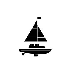sailing yacht black icon concept sailing yacht vector image