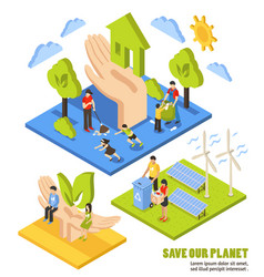 saving planet isometric composition vector image