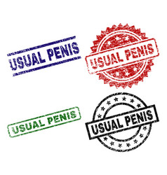 Scratched textured usual penis seal stamps vector