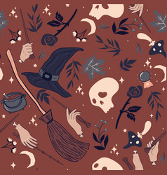 Seamless pattern with hands and magic wands vector