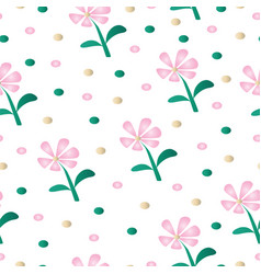 seamless pattern with pink daisy flowers vector image