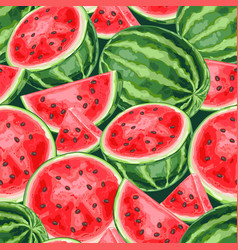 Seamless pattern with watermelons and slices vector