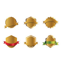 set golden shields and ribbons graphic vector image