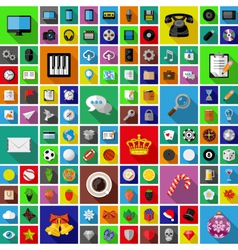 Set of universal icons with long shadow vector image