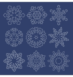 Set of white contour snowflakes vector image