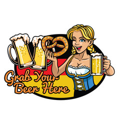 sexy bavarian girl presenting the beer vector image