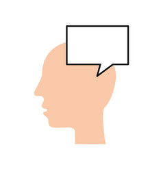 silhouette head human speech bubble communication vector image