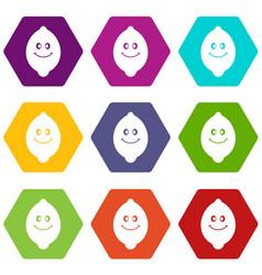 smiling lemon fruit icon set color hexahedron vector image