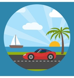 Sports car on the seaside vector