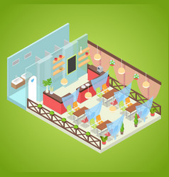 summer cafe interior design isometric vector image