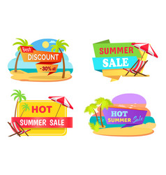 Summer sale emblems with tropical beaches set vector
