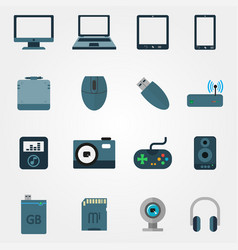 tehnology in flat style set of devices vector image