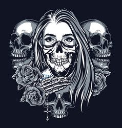 vintage chicano style tattoo monochrome concept vector image